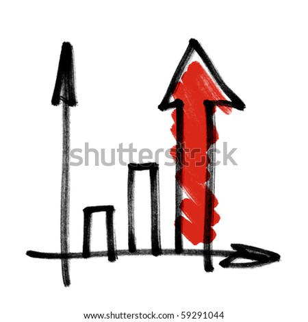 Successful business graph with red shaded arrow. Hand drawing, isolated.
