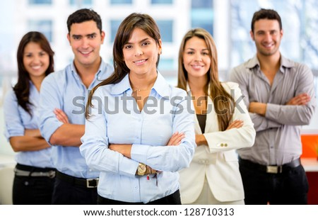 Successful business group smiling at the office