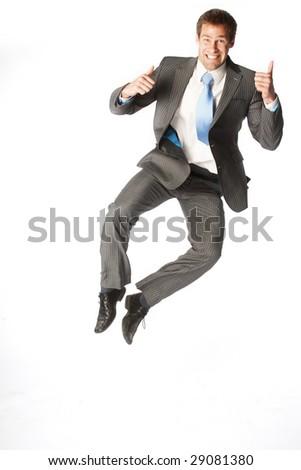 successful business man jump