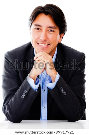 Successful business man looking confident - isolated over a white background