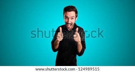 successful business man on blue background
