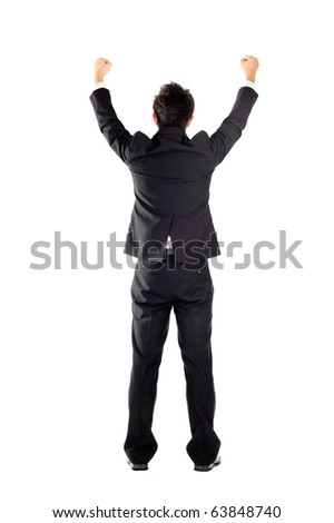 Successful business man raising hand, isolated on white.