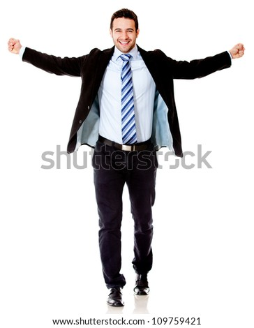 Successful business man with arms open - isolated over a white background
