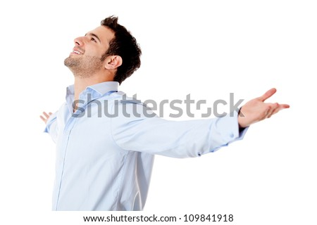 Successful business man with arms open - isolated over white background