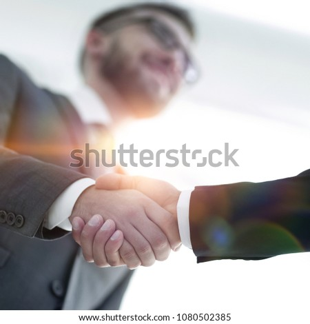 Successful business people handshaking after good deal. #1080502385