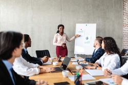 Successful Business Presentation. Cheerful Black Businesswoman Pointing At Graphs And Charts On Blackboard Giving Speech During Corporate Meeting With Coworkers In Modern Office. Selective Focus