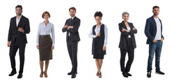 Successful business team. Full length portrait of group of confident business people showing thumbs up and smiling. Design element, studio isolated on white background