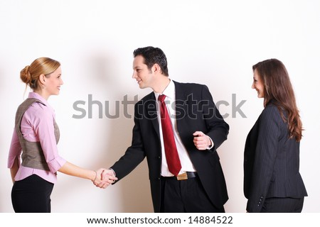 successful business team is saying hello