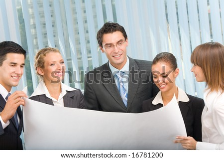 Successful business team planning or brainstorming at office