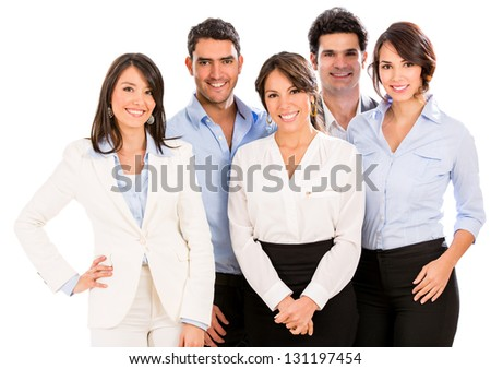Successful business team smiling - isolated over a white background