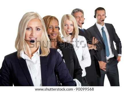 Successful business team with headset on standing in a row against white background