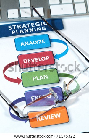 Successful business' use strategic plans to lead into the future - stock photo