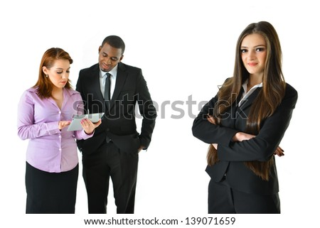 Successful Business Woman and Her Team with Different Background Poses