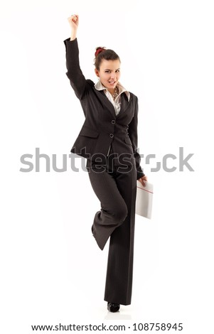 successful business woman cheerful working isolated on white background