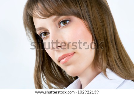 Successful business woman. Isolated over gray background