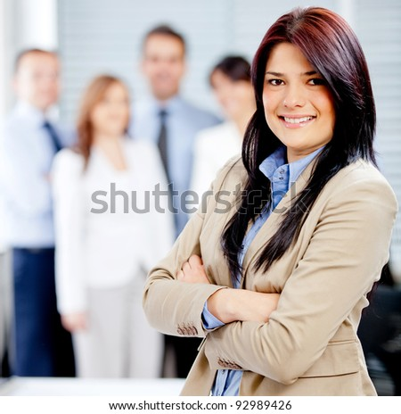 Successful business woman leading a corporate team