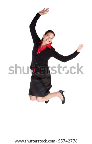 Successful business woman leaping high in the air, motion blur on foot
