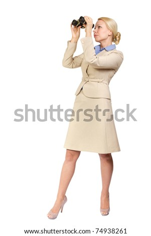 Successful business woman looks through binoculars into the future. Seeking for something. Isolated  white background