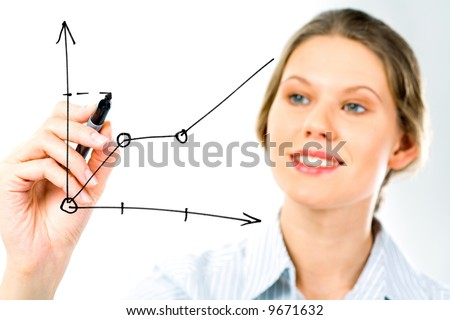 Successful business woman showing growth of profit on sales on a whiteboard