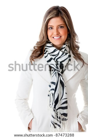 Successful business woman smiling - isolated over a white background - stock photo
