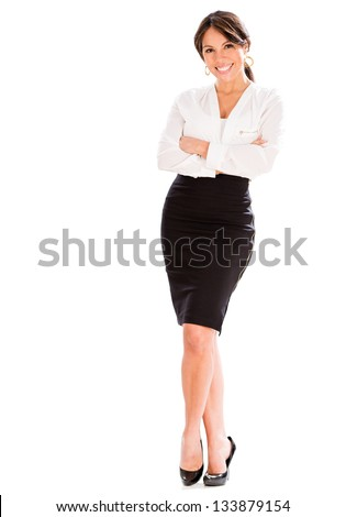 Successful business woman with arms crossed - isolated over white