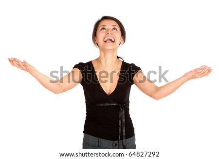 Successful business woman with arms open - isolated