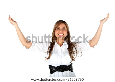 Successful business woman with her arms opened - isolated over white - stock photo