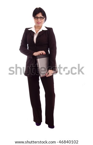Successful business woman with laptop isolated over white background