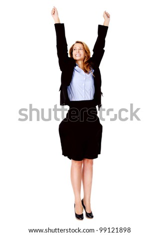 successful business women celebrating with cheer and happy expression. isolated on white