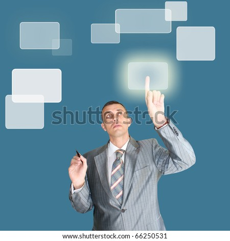 successful businessman choose new information internet technology