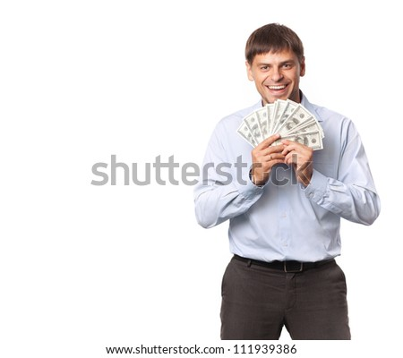 Successful businessman. Dollar in the hand.