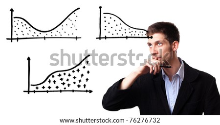 Successful businessman showing growth of profit on sales on a whiteboard - stock photo