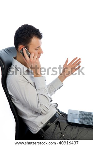 Successful businessman talking by the phone