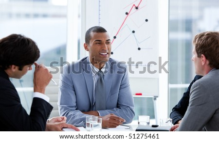 Successful businessmen having a brainstorming in a company