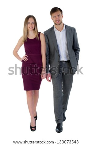 successful businessmen the man and the woman isolated on a white background