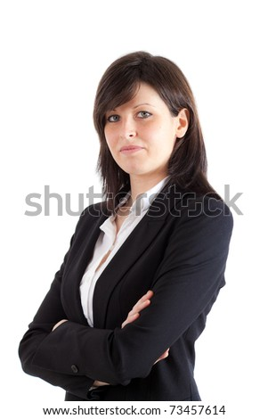 Successful businesswoman portrait isolated on white