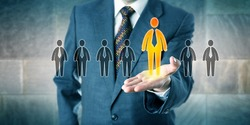 Successful candidate is standing out in a lineup of seven applicants. White collar profession concept for personal career development, talent acquisition, unlocking your potential and leadership.