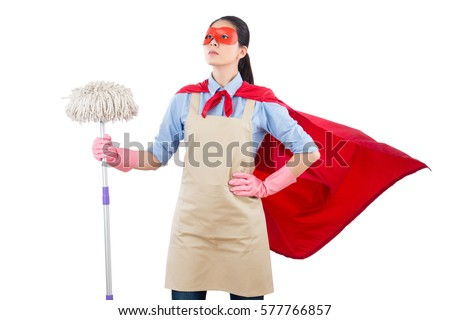 successful confidence mixed race spring cleaning superhero housewife cleaning floor with mop. isolated on white background. housework and household concept.
