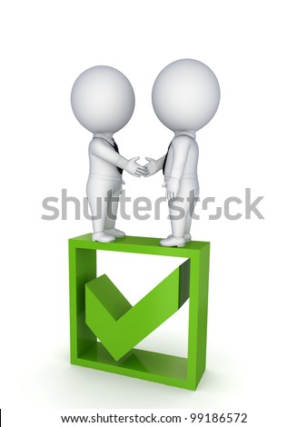 Successful contract concept.Isolated on white background.3d rendered.