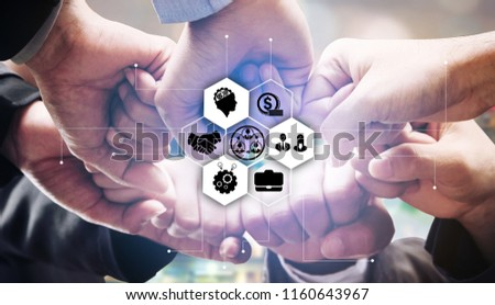 Successful creative business people collaboration with iot icons showing concept of technology success, creative start up and collaboration for iot innovation.