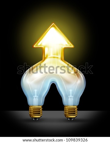 Successful creative partnership and corporate merger of ideas as two light bulbs coming together to form a unified business force as a glowing light in the shape of an arrow going up.
