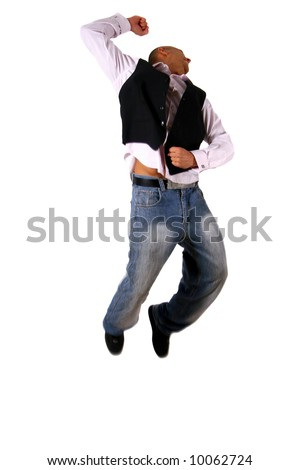 Successful Day Young business-man jumping in joy - over pure white background.