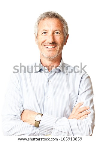 Successful elegant smiling mature casual man portrait isolated on white background
