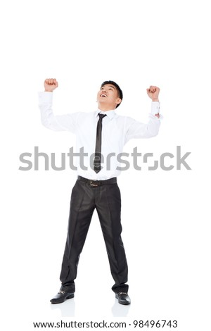 Successful excited asian young business man hold fist, full length portrait of businessman with arms wide open wear shirt and tie isolated over white background