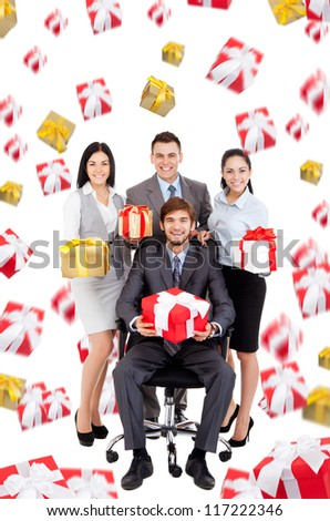 Successful excited Business people group team hold gift box presents fall fly around, man leader sitting in chair, young businesspeople smile, Isolated over white background