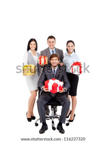 Successful excited Business people group team hold gift box presents, man leader sitting in chair, young businesspeople smile, Isolated over white background