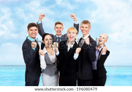 Successful excited Business people group team summer ocean vacation, young businesspeople travel smile hold fist ok yes gesture with raised hands arms, over sea blue sky