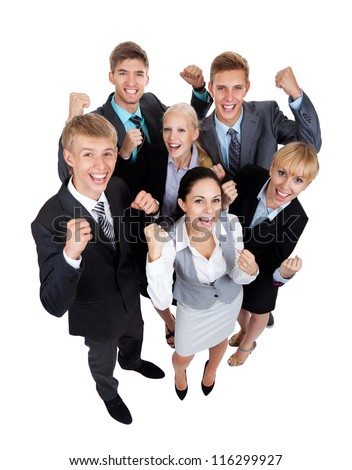 Successful excited Business people group team, young businesspeople standing together smile hold fist ok yes gesture with raised hands arms, top angle view full length Isolated over white background