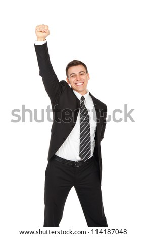 successful excited young business man hold fist, portrait of businessman happy smile with raised arm hand up, isolated over white background