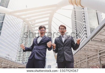 Successful exciting and celebrating victory concept. Businessman happy and excited expressing winning gesture and celebration Success. #1507924367